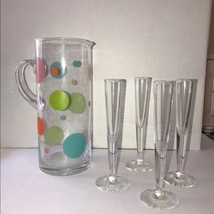 Glass Pitcher and Four Flute Set